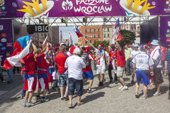 Euro 2012 - Poland. The Czech fans. The Czech fans before the game for Euro 2012 between Czech and Russia Stock Image