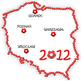 EURO 2012 in Poland and Ukraine. Image shows the contour map of Poland composed of balls and major cities where the matches will be held Stock Photo