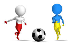 Euro 2012 in Poland and Ukraine. Fooball. Euro 2012 in Poland and Ukraine 3d concept. Two guys running to soccer ball Stock Photo