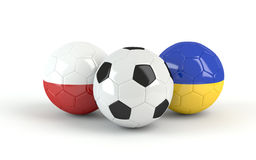 Euro 2012 Poland Ukraine soccer balls. Euro 2012 Poland Ukraine footballs on white background Stock Photo