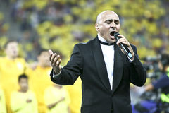 Euro 2012 Qualifying Round (Group D)Romania-France. Marcel Pavel (Romanian singer) sings the national hymn (Desteapta-te Romane) at the beginning of the football Royalty Free Stock Image