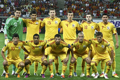 Euro 2012 Qualifying Round (Group D)Romania-France. Romania football team at the beginning of the football match against France in the Euro 2012 Qualifying Round Stock Image