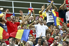 Euro 2012 Qualifying Round (Group D)Romania-France. Romanian fans at the beginning of the football match between Romania and France in the Euro 2012 Qualifying Stock Photos