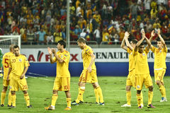 Euro 2012 Qualifying Round (Group D)Romania-France. Romanian players applauding the fans at the end of the football match between Romania and France in the Euro Stock Photo