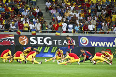Euro 2012 Qualifying Round (Group D)Romania-France. Romanian players at the beginning of the football match between Romania and France in the Euro 2012 Royalty Free Stock Photos