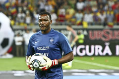 Euro 2012 Qualifying Round (Group D)Romania-France. France football player (MANDANDA Stève) at the beginning of the football match between Romania and France in Stock Photo