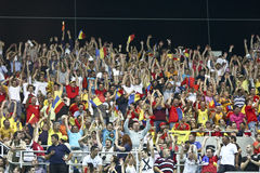 Euro 2012 Qualifying Round (Group D)Romania-France. Romanian fans in the football match between Romania and France in the Euro 2012 Qualifying Round (Group D) Stock Photos