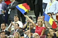 Euro 2012 Qualifying Round (Group D)Romania-France. Romanian celebrities (Andreea Esca) at the football match between Romania and France in the Euro 2012 Royalty Free Stock Photos