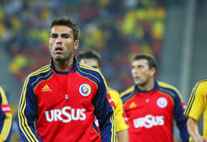 Euro 2012 Qualifying Round Romania-Belarus. Romanian player (Adrian Mutu) at the beginning of the football match between Romania and Belarus in the Euro 2012 Royalty Free Stock Photo