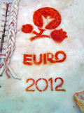 Euro 2012 símbolos en el salo, diversidad del alimento, Imagenes de archivo