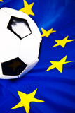 Euro 2012 and soccer ball. With european flag Royalty Free Stock Images