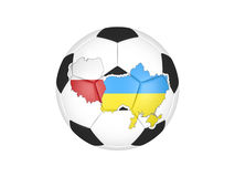 Euro 2012 soccer ball. Soccer ball isolated on white background. Ball has Poland and Ukraine border contours filled with flags colors Stock Photos