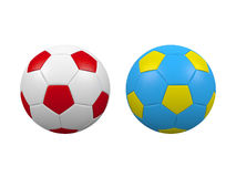Euro 2012 soccer balls. Soccer balls isolated on a white background. Balls has Poland and Ukraine flags colors.Poland and Ukraine are euro 2012 organizers Stock Images