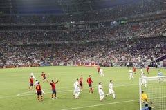 EURO 2012. Spanien gegen Frankreich stockfotografie