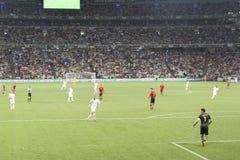 EURO 2012. Spanien gegen Frankreich lizenzfreie stockfotos