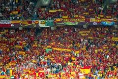 EURO 2012, spanska ventilatorer Arkivbilder