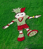EURO 2012 talisman from flowers and green grass, Royalty Free Stock Photography