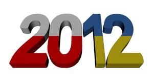 Euro 2012 text Polish Ukraine flags Stock Photo