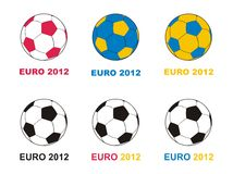 Euro 2012 vector soccer championship balls. Championship football - UEFA Euro 2012 - vector soccer balls with color of Poland and Ukraine flags Royalty Free Stock Photos