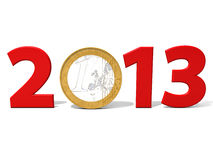 Euro 2013. A rendering of 2013 with euro's coin and white background Royalty Free Stock Photo