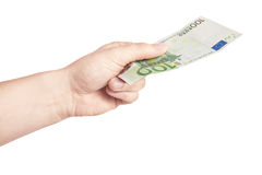 Euro. Male hand holding 100 euro bill isolated on white Royalty Free Stock Image