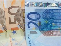 Euro. Detailed closeup of some euro banknotes Royalty Free Stock Photography