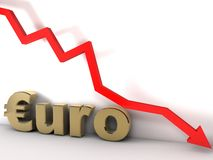 Euro. Chart is going down and hits the ground Stock Photography
