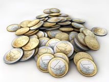 Euro. Coins on white floor Stock Photography