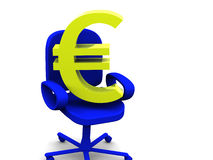 Euro. Chair and euro. 3d isolated object Stock Photo