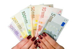 Euro. Bancnotes in woman hands Royalty Free Stock Image