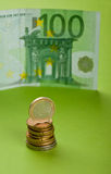 Euro. One hundred Euro bill and coins Royalty Free Stock Image