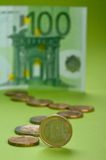 Euro. Bill and coins on the paper Royalty Free Stock Photography