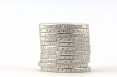 Euro. Stack of German 2-Euro-coins in front of a white background Stock Photo