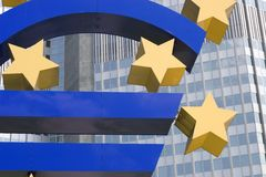 Euro. And the pean Central Bank. Frankfurt, Germany Royalty Free Stock Photo
