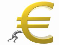Euro. 3D render of a man pushing Euro currency sign isolated on white Stock Illustration