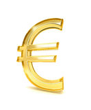 Euro sign 3d. Computer generated image of gold glass euro symbol Stock Photos