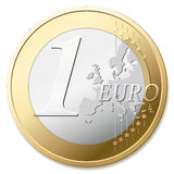 Euro. One euro coin, vector illustration Royalty Free Stock Images