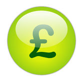 Euro. Glassy Green Pound Icon Button Stock Images