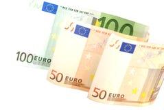 euro 50 100 banknotów Obrazy Royalty Free