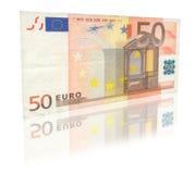 Euro 50 avec la réflexion Images stock