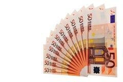 euro 50 banknotów Zdjęcia Royalty Free