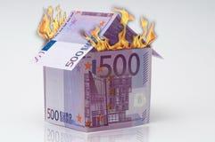 euro 500 en fuego Fotografía de archivo libre de regalías