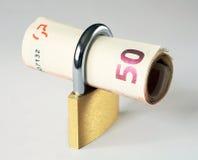 Euro 50s chiuso a chiave in su Fotografia Stock Libera da Diritti