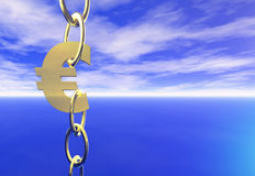 Euro. The Euro symbol in chains Stock Images