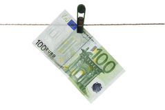 Euro. Isolated Euro Hanging on Clothesline Royalty Free Stock Photos