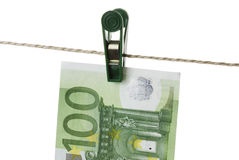 Euro. Isolated Euro Hanging on Clothesline Stock Photos