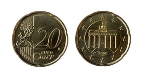 Euro. Isolated Euro Coins, European Money Royalty Free Stock Photo
