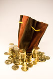 Euro. Load of Euro cent coins and leather bag Stock Photo