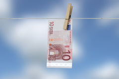 Euro. On clothes-line, money Royalty Free Stock Image