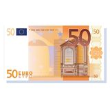 Euro. 50 euro banknote vector illustration isolated over white background stock illustration